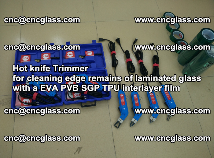Hot knife Trimmer for cleaning edge remains of laminated glass with a EVA PVB SGP TPU interlayer film (50)