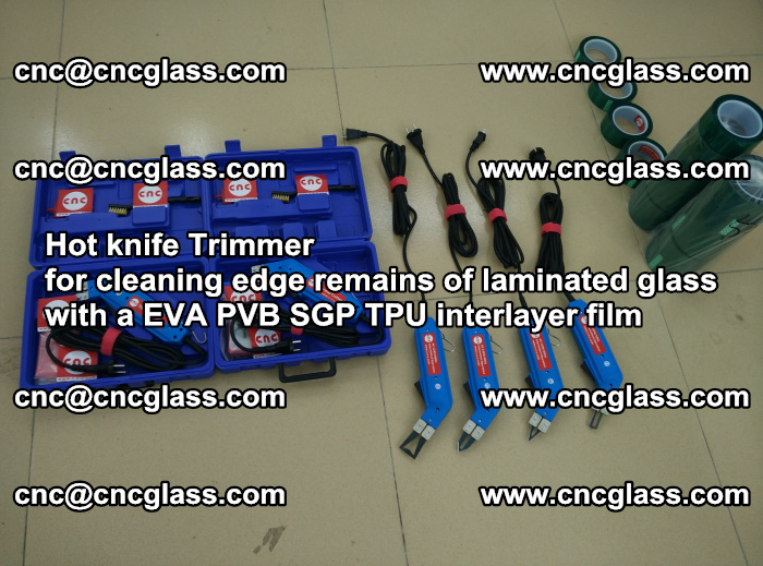 Hot knife Trimmer for cleaning edge remains of laminated glass with a EVA PVB SGP TPU interlayer film (54)